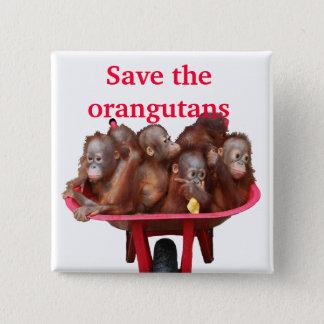 Save the Orangutans Cute Babies Pinback Button