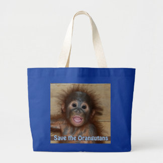 Save the Orangutans Cute Baby Large Tote Bag