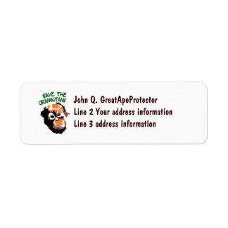 Save the Orangutans Custom Return Address Label