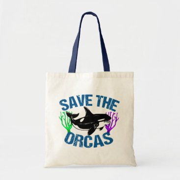 Beach Themed Save the Orcas Cute Tote Bag