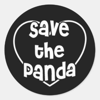 Save The Panda on Heart Round Sticker