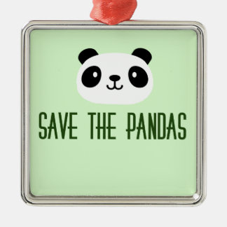 Save The Pandas Metal Ornament