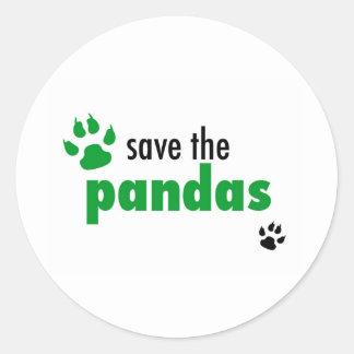 Save The Pandas Round Stickers
