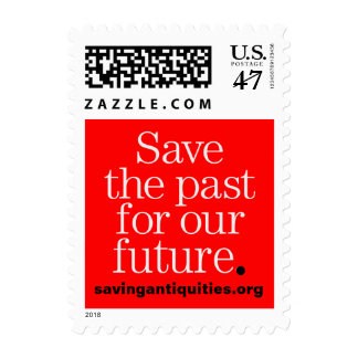 Save the past for our future stamp (white on red)