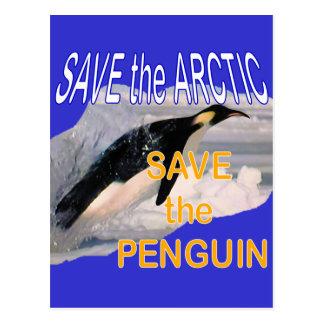 Save the penguin postcard