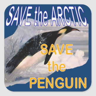 Save the penguin square sticker