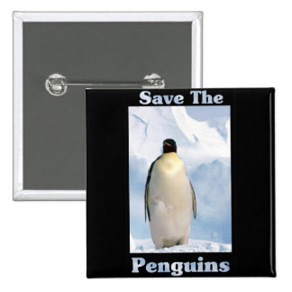Save the Penguins 2 Inch Square Button