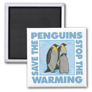 Save the Penguins 2 Inch Square Magnet