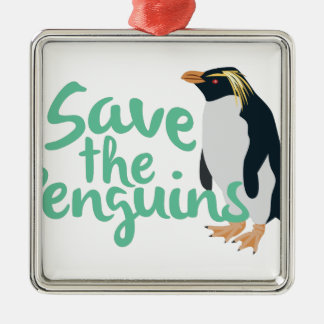 Save the Penguins Metal Ornament