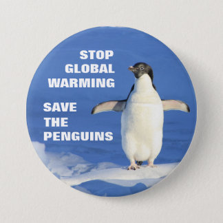 Save the Penguins Stop Global Warming Round Button