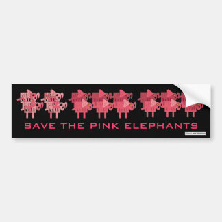 SAVE THE PINK ELEPHANTS BUMPER STICKER