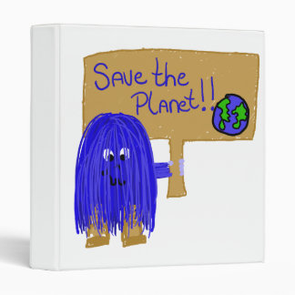 Save the planet blue 3 ring binders