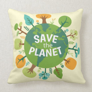 Save the Planet Earth Illustration Throw Pillow