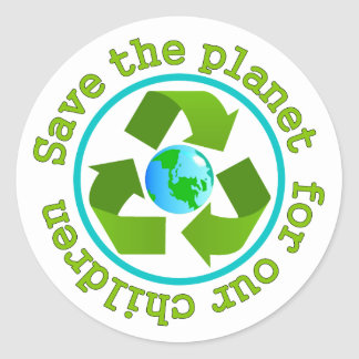 Save the planet for our children classic round sticker