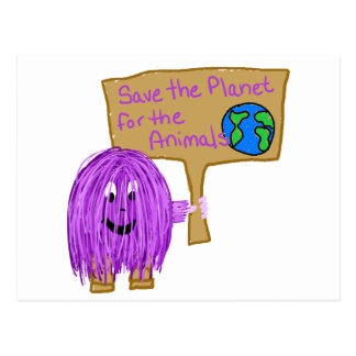 save the planet for the animals postcard