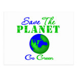 Save the Planet Go Green Post Card