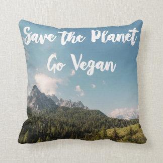 Save The Planet Go Vegan Throw Pillow
