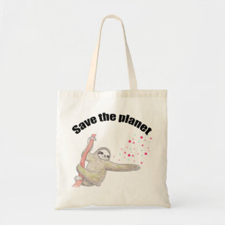 Save the planet Grocery Bag Sloth Tote Earth Day