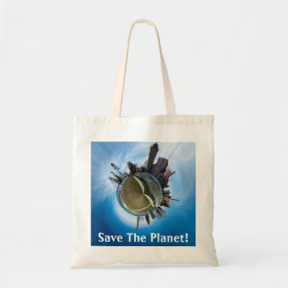 Save The Planet Mackinaw City Panoplanet Tote Tote Bags