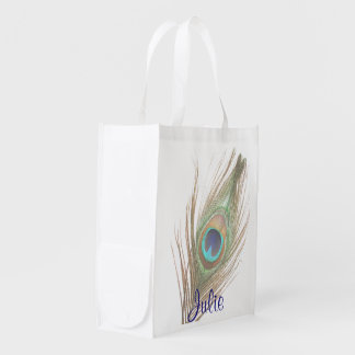 Save the Planet Peacick Feather with Name Reusable Grocery Bags
