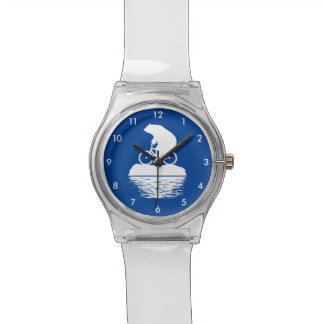 Save the Planet: Polar Bear Bicycle Clear Watch