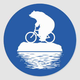 Save the Planet: Polar Bear Bicycle Round Stickers