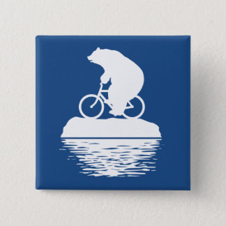 Save the Planet: Polar Bear Bicycle Square Button