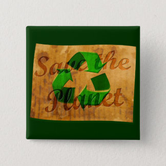 Save The Planet: Recycle Pinback Button