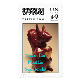Save the Plastic Squirrels! Postage Stamp