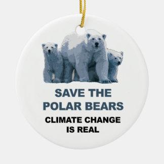 Save the Polar Bears Ceramic Ornament