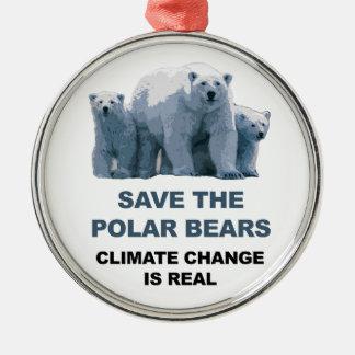 Save the Polar Bears Metal Ornament
