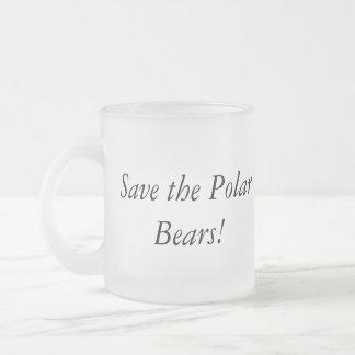 Save the polar bears mug! frosted glass coffee mug