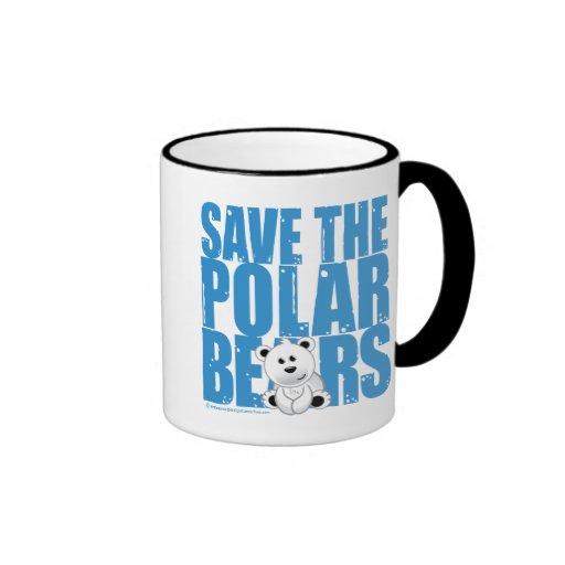 Save the Polar Bears Ringer Coffee Mug