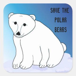 Save the Polar Bears Square Sticker