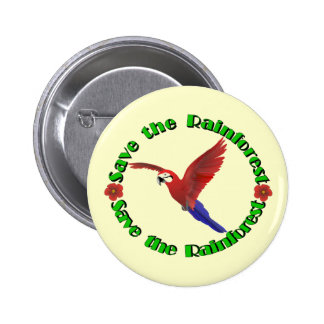 Save the Rainforest Pinback Button