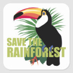 Save The Rainforest Square Stickers