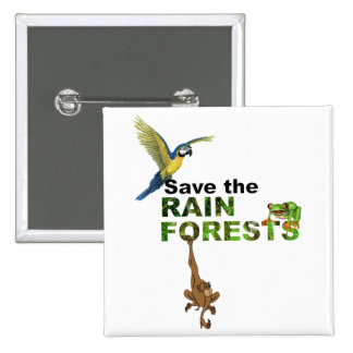 Save the Rainforests 2 Inch Square Button