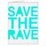 Save the rave blue NU Rave raver UK dance 80s Card