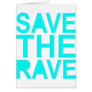 Save the rave blue NU Rave raver UK dance 80s Greeting Card