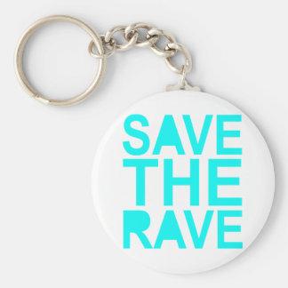 Save the rave blue NU Rave raver UK dance 80s Keychain