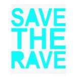 Save the rave blue NU Rave raver UK dance 80s Custom Letterhead