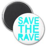 Save the rave blue NU Rave raver UK dance 80s Fridge Magnet