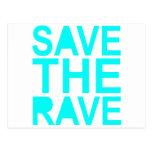 Save the rave blue NU Rave raver UK dance 80s Postcards