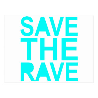 Save the rave blue NU Rave raver UK dance 80s Postcard
