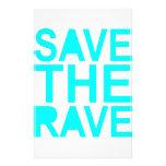 Save the rave blue NU Rave raver UK dance 80s Custom Stationery