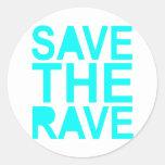 Save the rave blue NU Rave raver UK dance 80s Classic Round Sticker