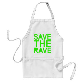 Save the rave green NU RAVE raver 80s scene Adult Apron