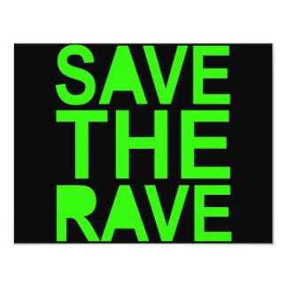Save the rave green NU RAVE raver 80s scene 4.25x5.5 Paper Invitation Card