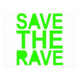 Save the rave green NU RAVE raver 80s scene Postcard