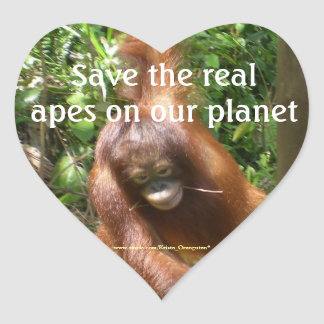 Save the Real Planet's Apes Heart Sticker